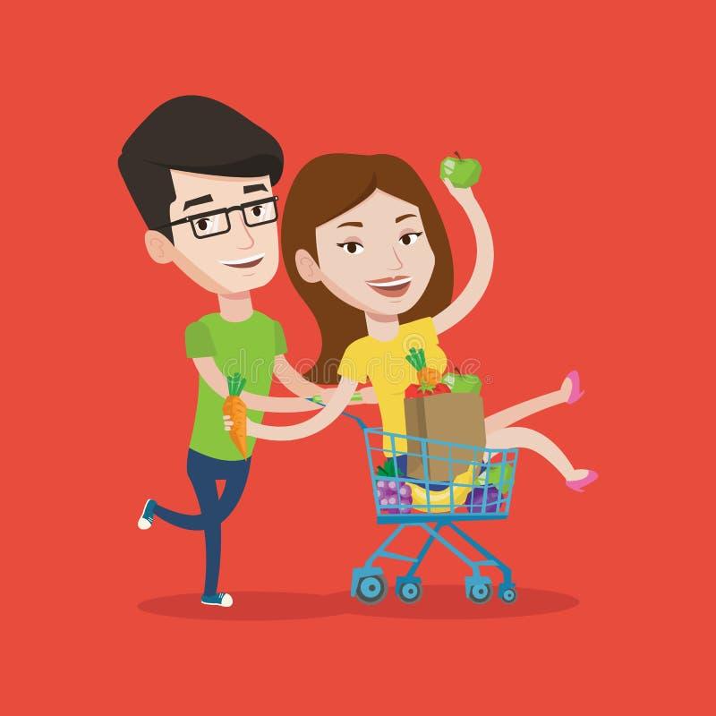 Paar van vrienden die door het winkelen karretje berijden royalty-vrije illustratie