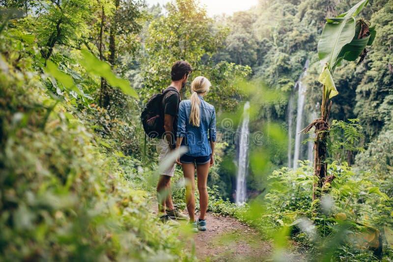 Paar van wandelaars die waterval bekijken stock fotografie