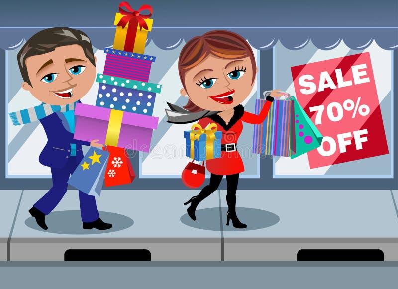 Paar-Winter-Einkaufsverkaufs-Fenster-gehender Shop stock abbildung