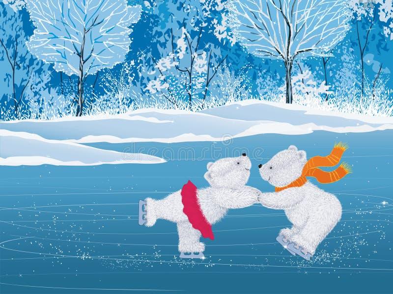 Paar witte pluizige schaatsers stock illustratie