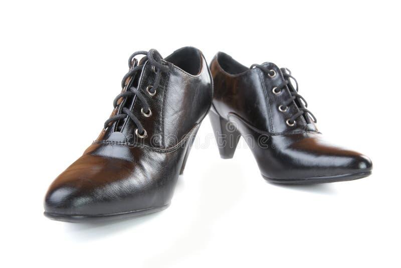 Paar zwarte vrouwelijke schoenen royalty-vrije stock foto's
