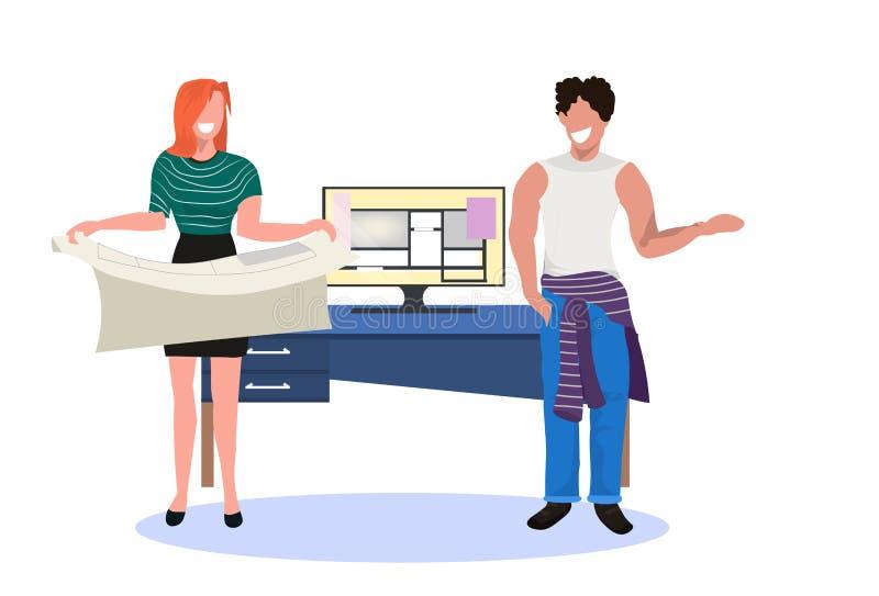 Paararchitekten, die Planfunktion auf Computer-Software halten, um GrundrissBauvorhabeningenieure zu entwerfen lizenzfreie abbildung