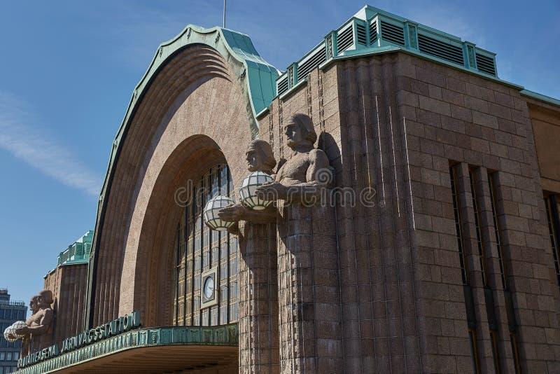 Paarautatieasema central de Helsingin do estação de caminhos-de-ferro em Helsínquia, foto de stock royalty free