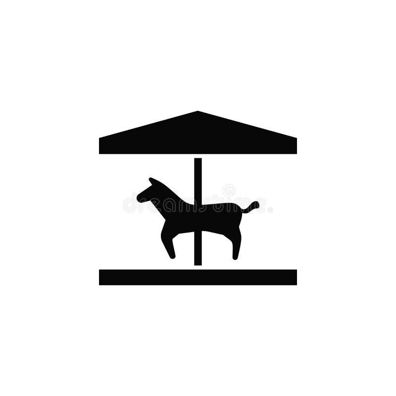 Paard, carrousel, pictogram Element van eenvoudig pictogram voor websites, Webontwerp, mobiele toepassing, infographics Dik lijnp stock illustratie