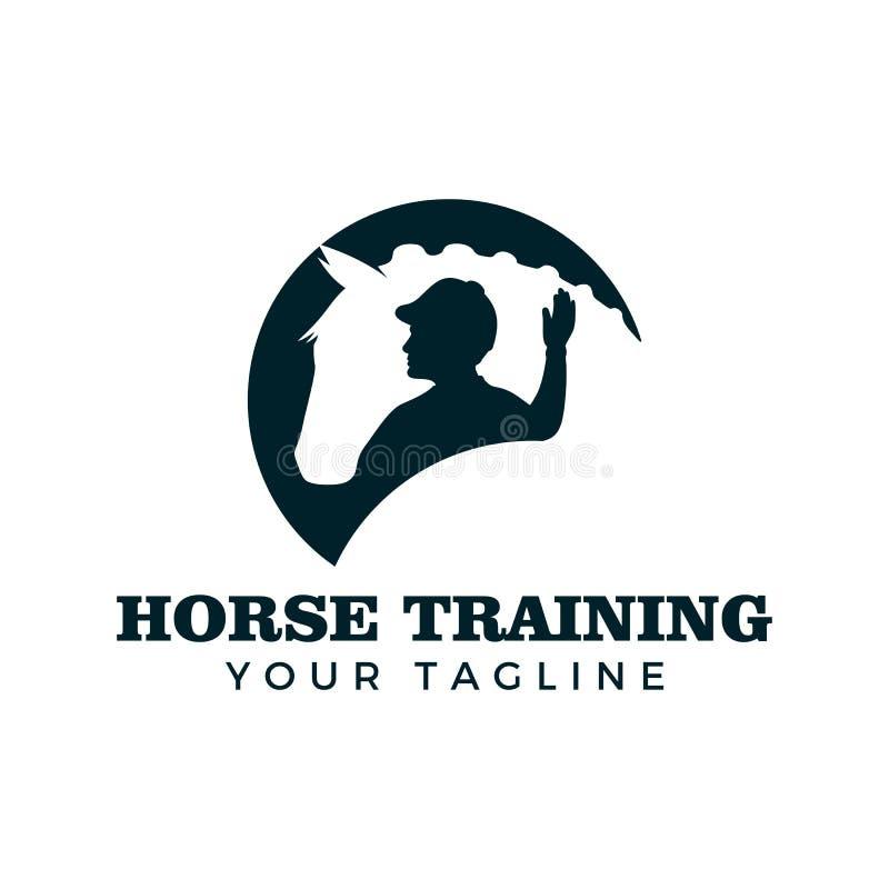 Paard de ontwerpsjabloon van het opleidingsembleem stock illustratie
