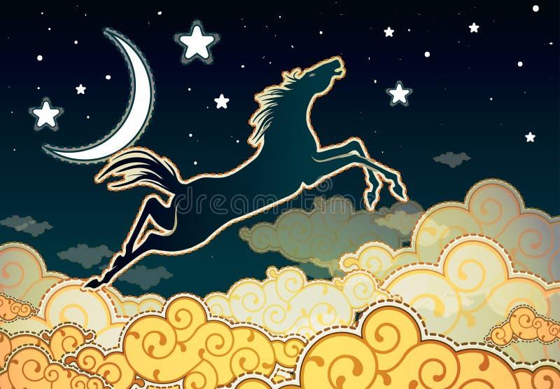 Paard die in de wolken springen stock illustratie