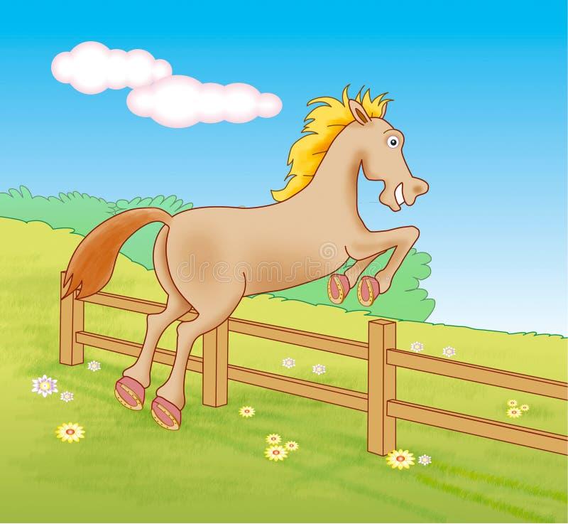 Paard die over omheiningen springen stock illustratie