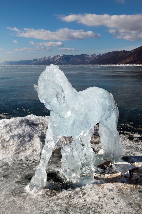 Paard, een beeldhouwwerk van ijs stock fotografie