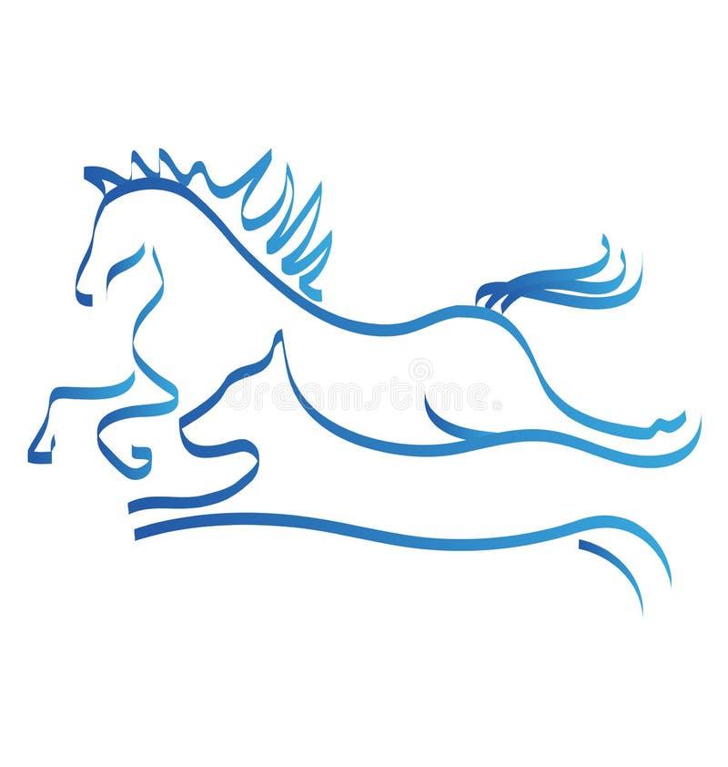 Paard en hond het pictogramembleem van de rasconcurrentie stock illustratie