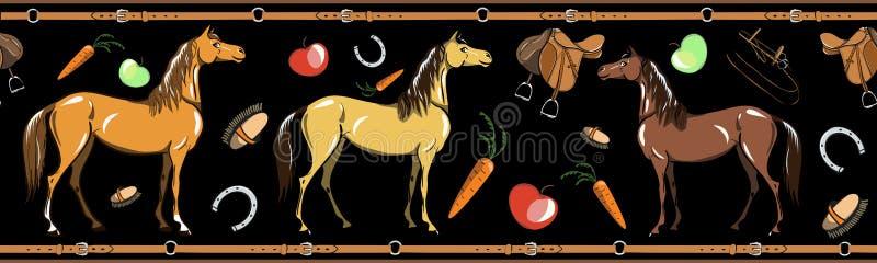 Paard en horseback de berijdende naadloze grens van het kopspijkerhulpmiddel op zwarte Paardensport in het kader van de leerriem stock illustratie