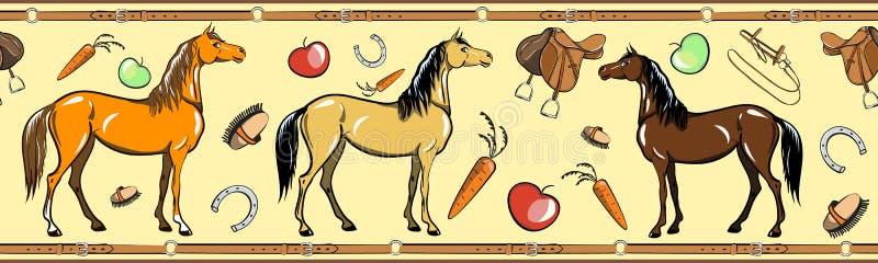 Paard en horseback de berijdende naadloze grens van het kopspijkerhulpmiddel Paardensport in het kader van de leerriem stock illustratie
