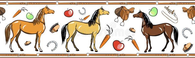 Paard en horseback de berijdende naadloze grens van het kopspijkerhulpmiddel Paardensport in het kader van de leerriem vector illustratie
