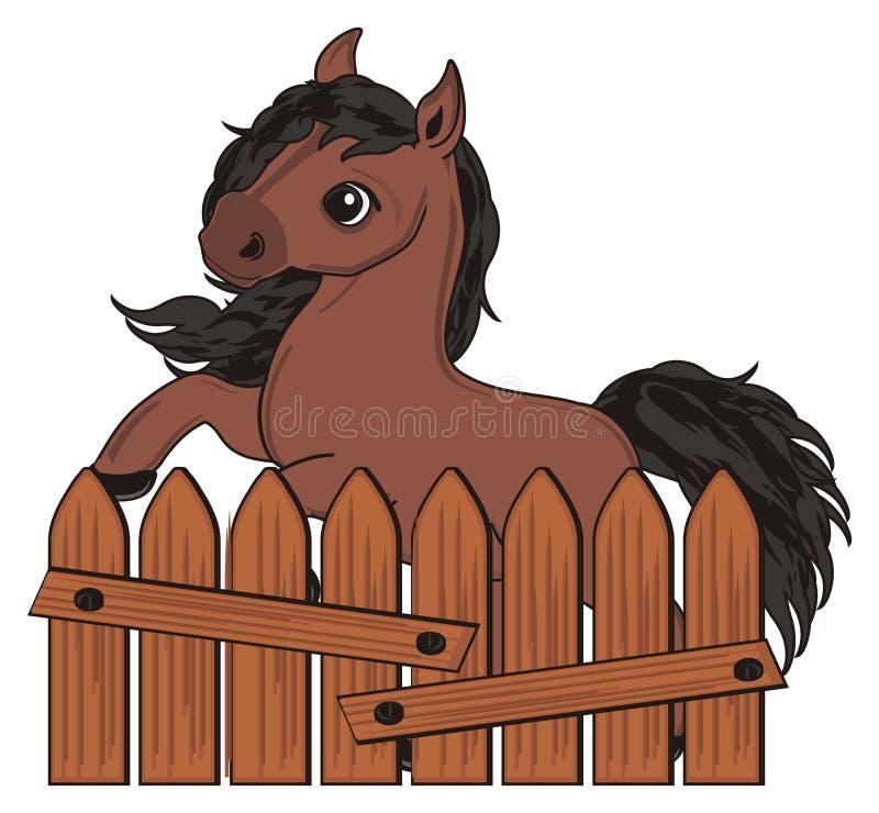 Paard en houten omheining stock illustratie