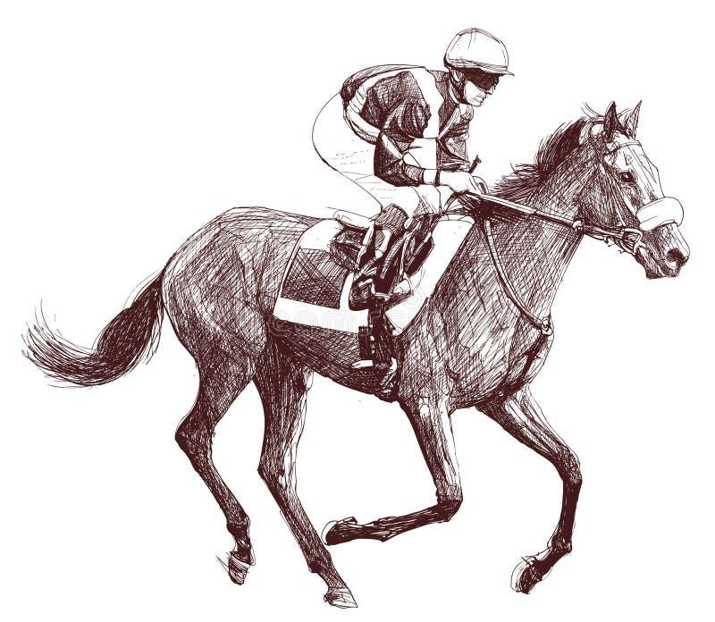 Paard en jockey stock illustratie