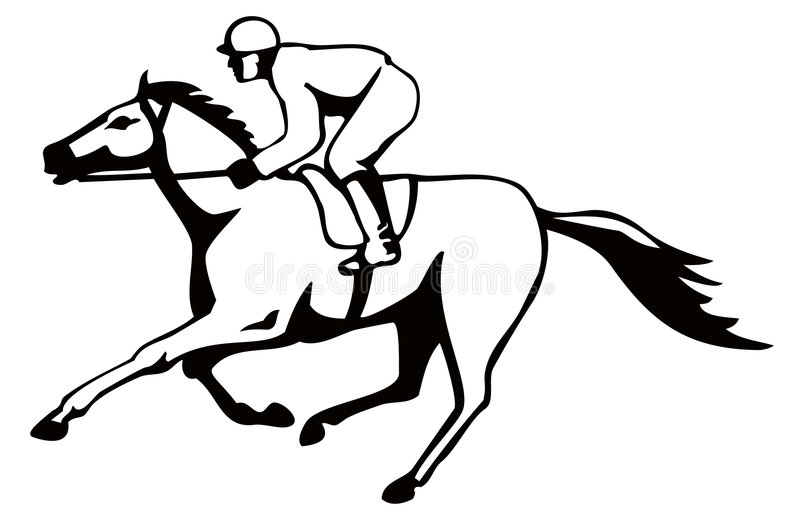 Paard en jockey op het winnen royalty-vrije illustratie