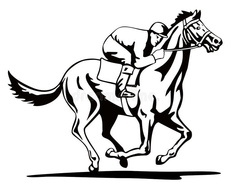 Paard en jockey op het winnen stock illustratie