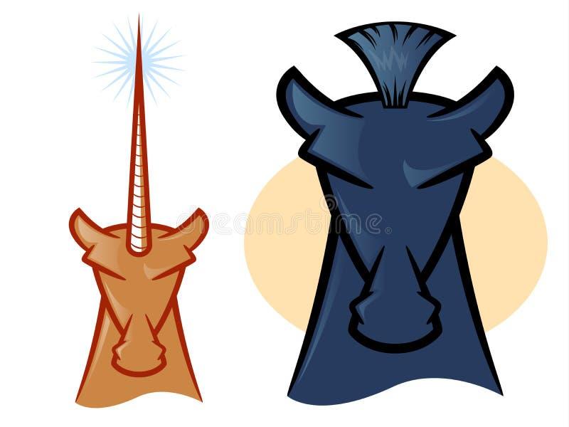 Paard en Unicorn Icons stock illustratie