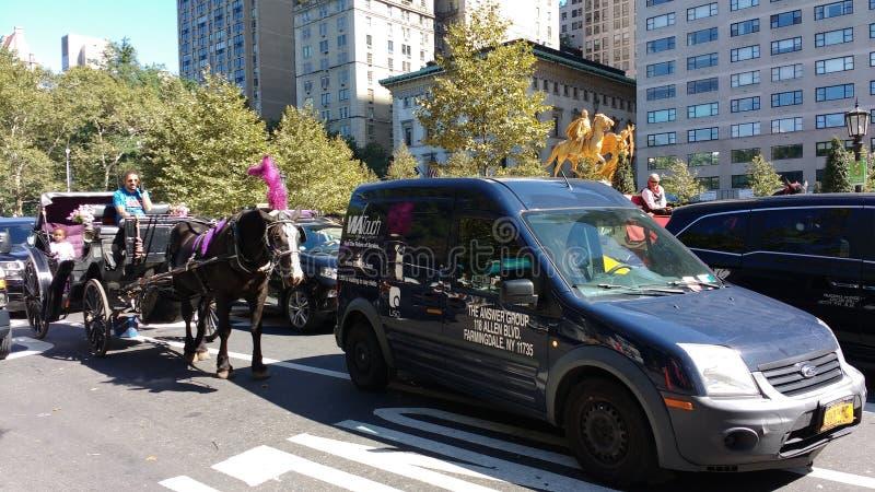 Paard en Vervoerritten onder Verkeer, Central Park, NYC, NY, de V.S. royalty-vrije stock afbeeldingen