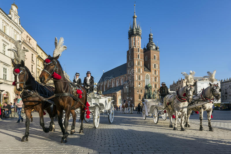 Paard getrokken vervoer op Oud Stadsvierkant in Krakau stock foto's