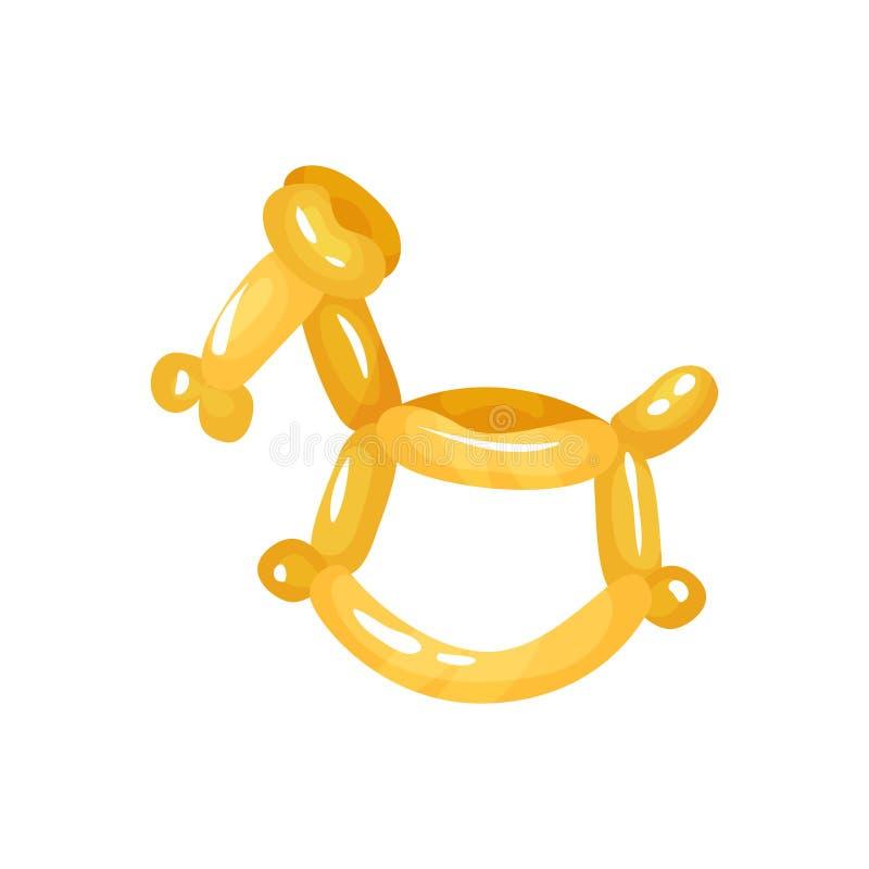 Paard het dierlijke beeldje verdraaien van glanzende gele ballons Grappig opblaasbaar stuk speelgoed Decoratie voor kinderenparti vector illustratie