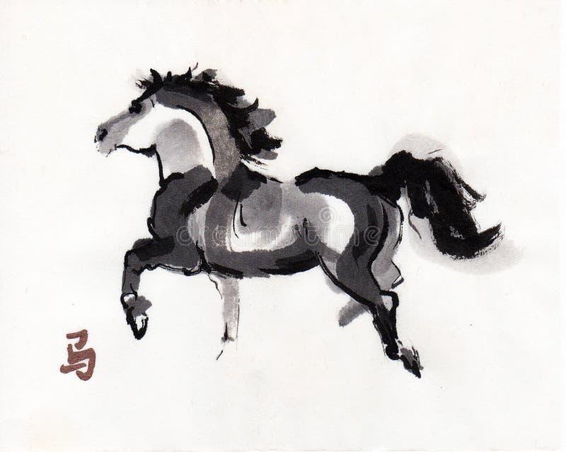 Paard het oosterse inkt schilderen, sumi-e royalty-vrije illustratie