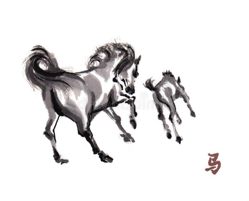 Paard het oosterse inkt schilderen, sumi-e vector illustratie