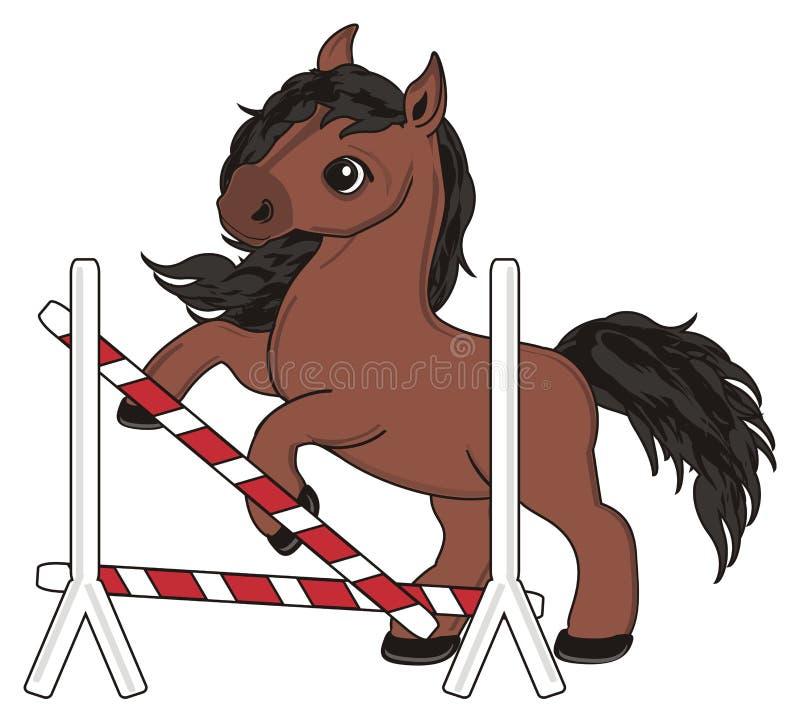 Paard met gebroken barrières vector illustratie