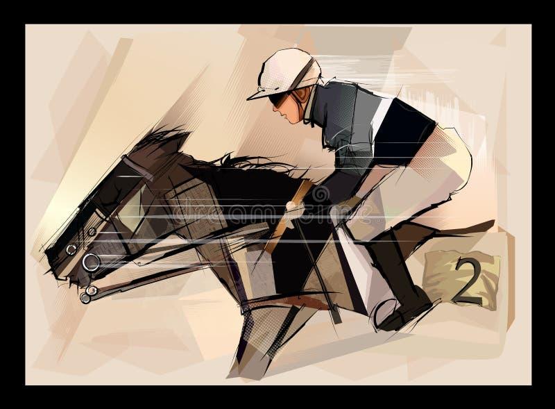 Paard met jockey op grunge backround royalty-vrije illustratie