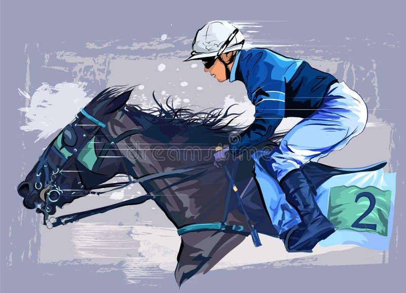 Paard met jockey op grungeachtergrond vector illustratie