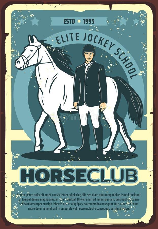 Paard met jockey op renbaan, vector vector illustratie