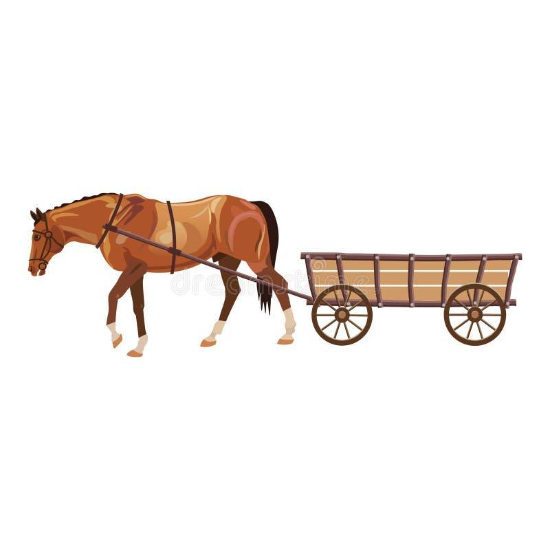 Paard met kar vector illustratie