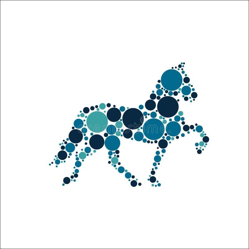 Paard met kleurrijke cirkels vectorillustratie vector illustratie