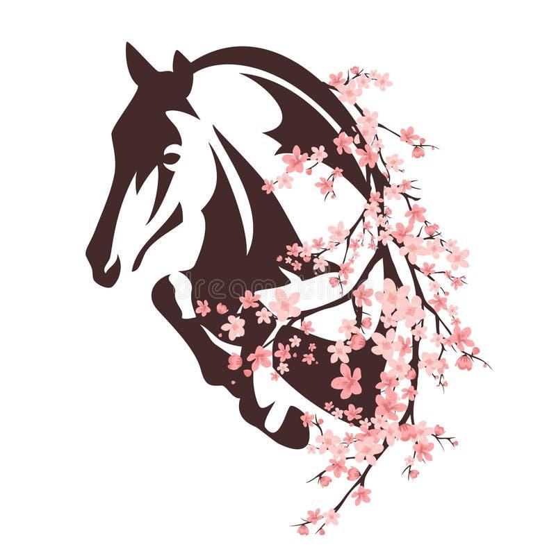 Paard onder bloemen stock illustratie