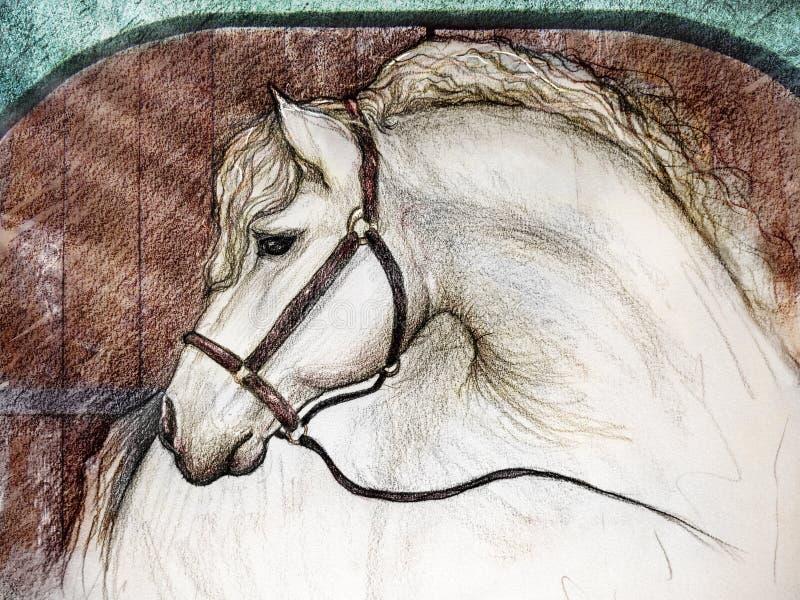 Paard in schuurbox royalty-vrije illustratie