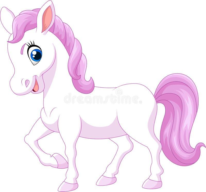 Paard van de beeldverhaal het gelukkige die poney op witte achtergrond wordt geïsoleerd vector illustratie