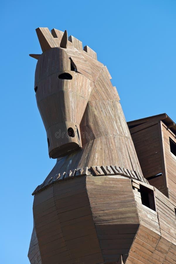 Paard van Troje bij Troy Plaats van de Archeologie in Turkije royalty-vrije stock foto's