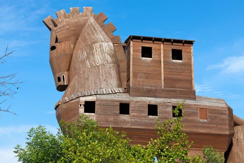 Paard van Troje in Troy wordt gevestigd die royalty-vrije stock foto