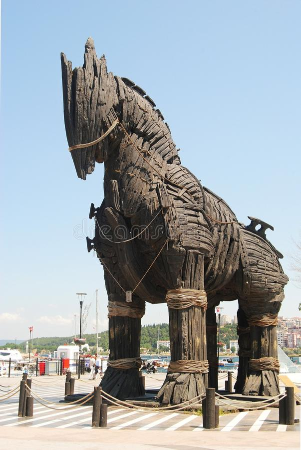 Paard van Troje van de film Troy op de promenade van de waterkant van Canakkale royalty-vrije stock afbeeldingen