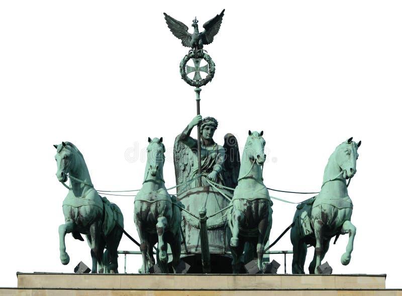 Paard vier op de poort van Brandenburg royalty-vrije stock afbeeldingen