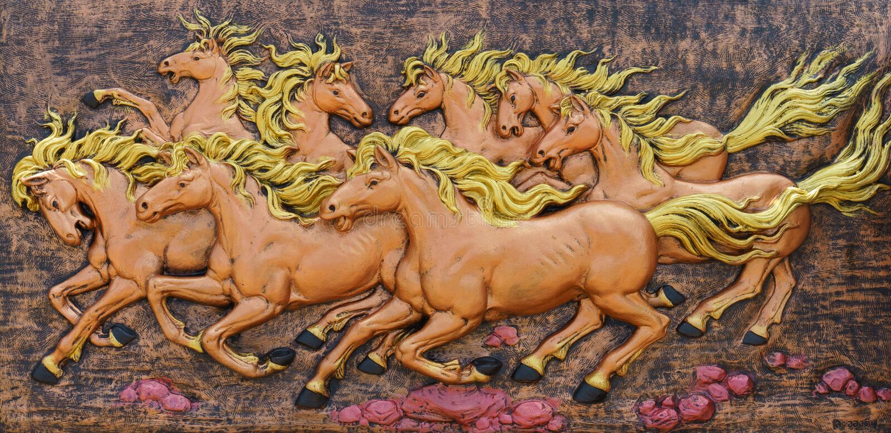 Paardbeeldhouwwerken Gebruik om op de muur te verfraaien stock foto