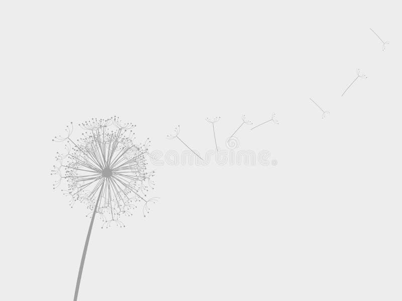 Paardebloem in de wind stock illustratie