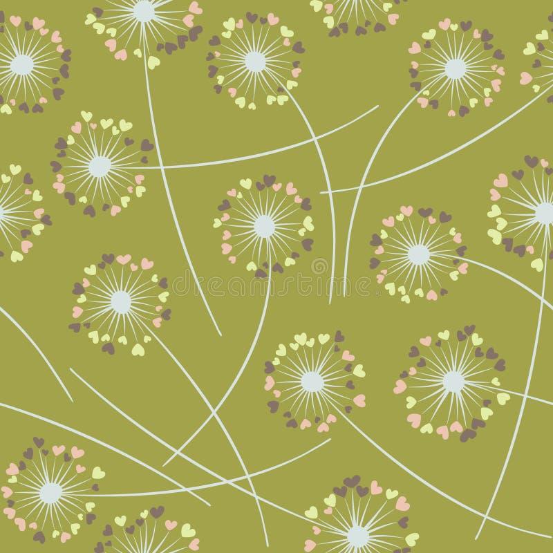 Paardebloem die vector bloemen naadloos patroon blazen stock illustratie