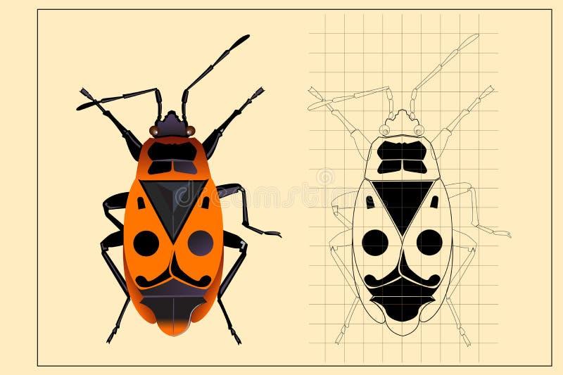 Paardebloem in een weide met gestileerde elementen vector illustratie