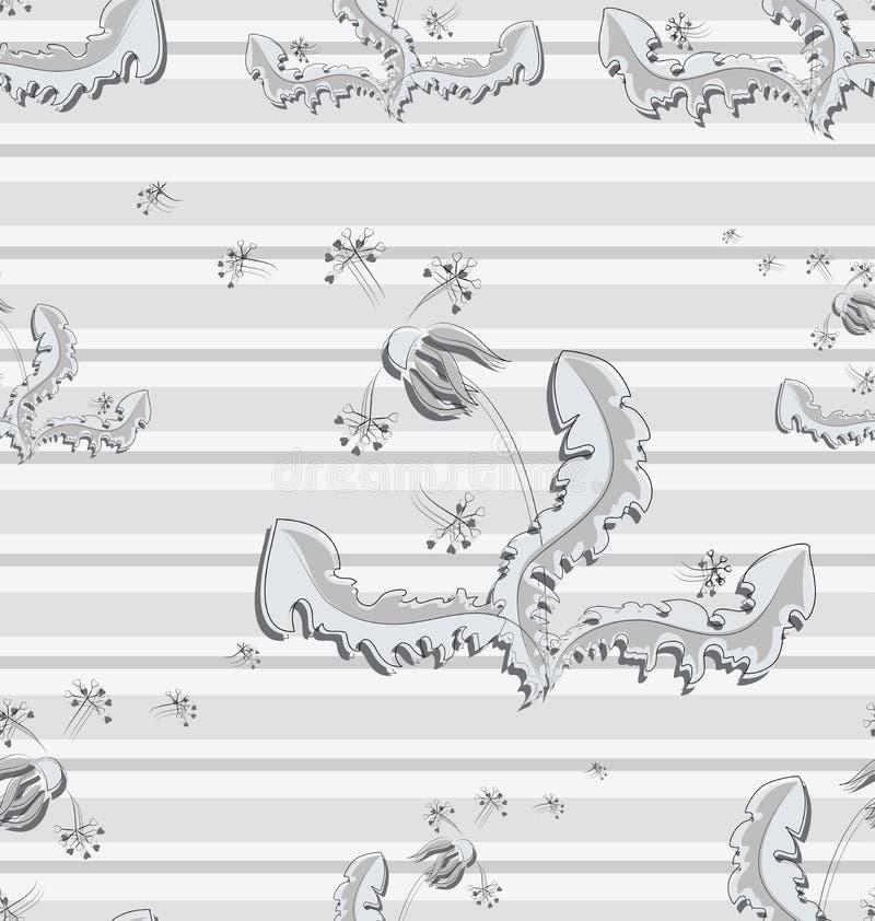 Paardebloem en vliegende valschermen royalty-vrije illustratie