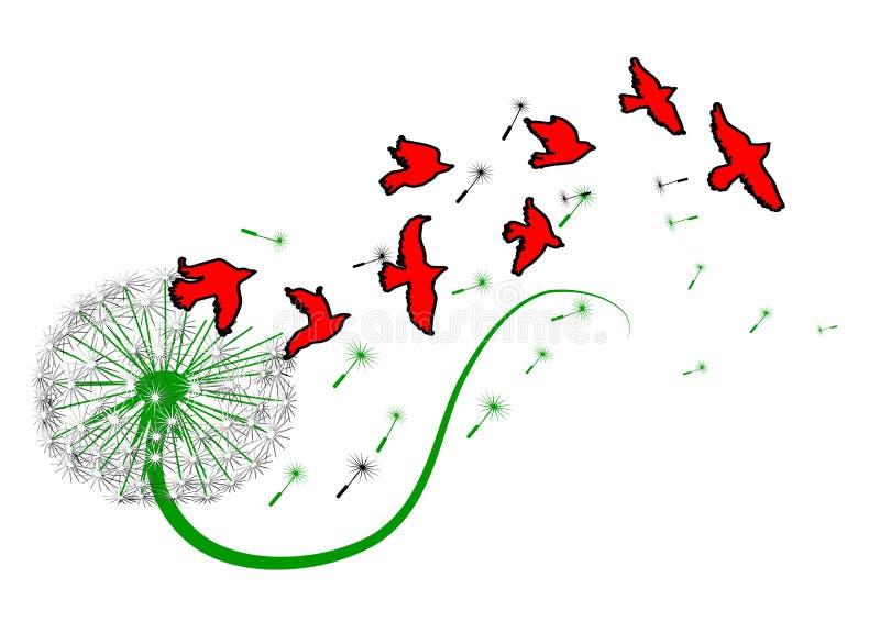 Paardebloem en vogels vector illustratie