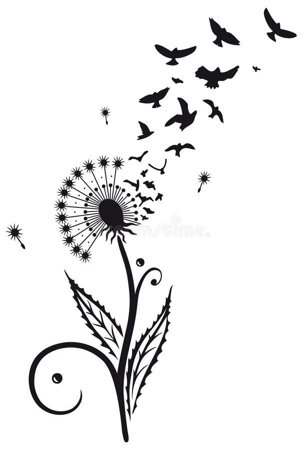 Paardebloem met vogels royalty-vrije illustratie