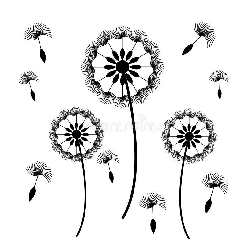 Paardebloem met zaden op witte achtergrond vector illustratie