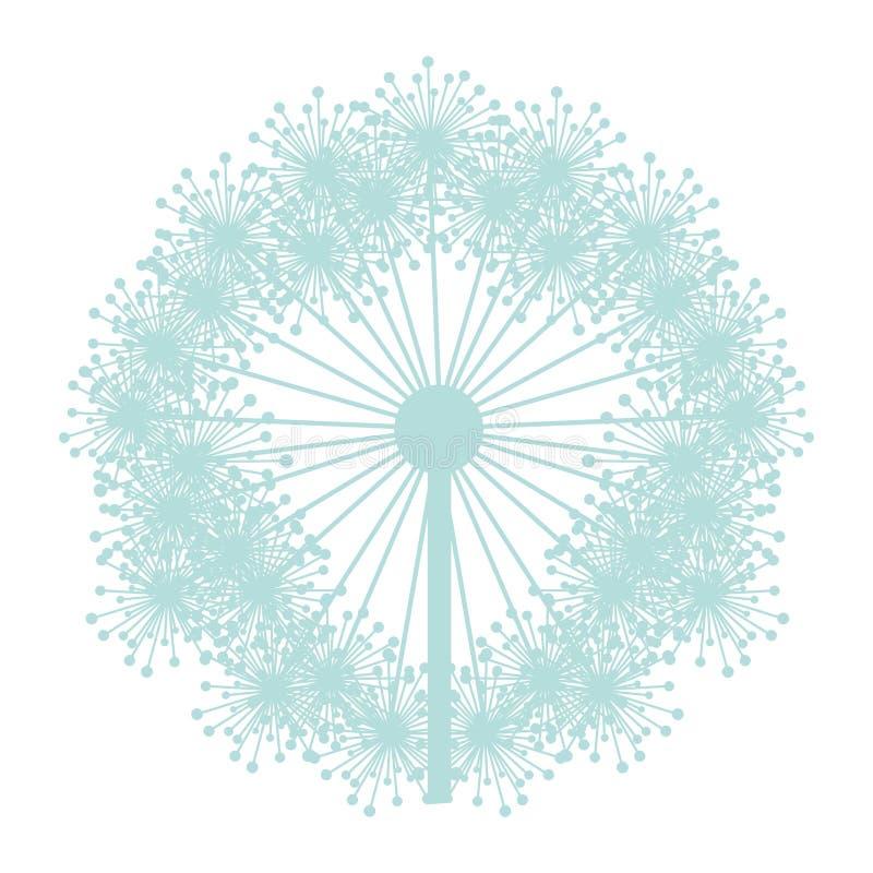 Paardebloem van het pastelkleur de blauwe silhouet met stampers vector illustratie