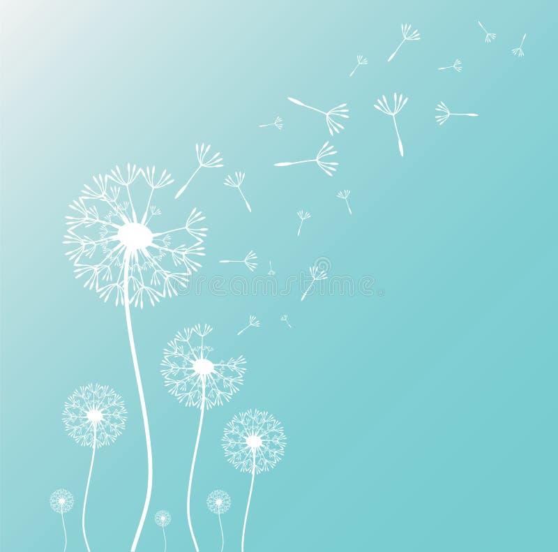 Paardebloemsilhouet met vliegende paardebloemknoppen stock illustratie