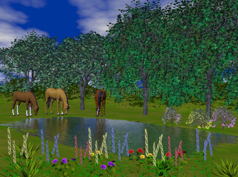 Paarden bij Vijver stock illustratie